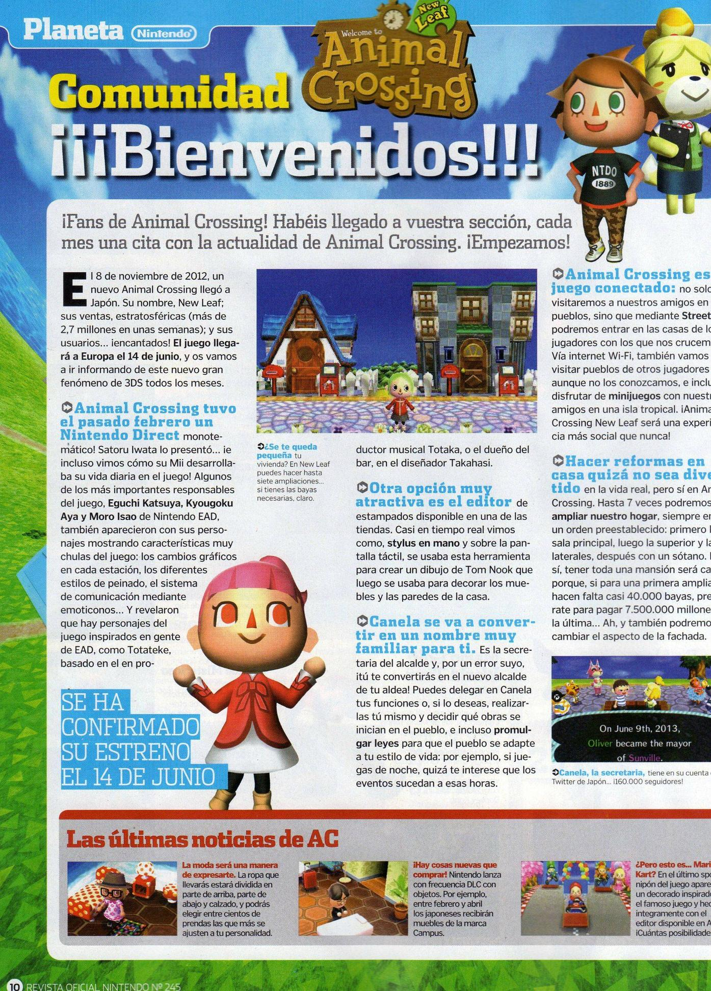 La revista Nintendo desvelará novedades de Animal Crossing 3DS: New Leaf  cada mes