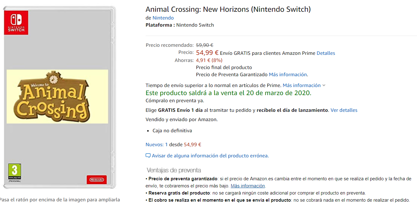 Reservar Animal Crossing New Horizons en Amazon