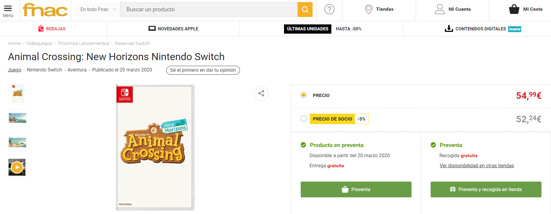 Reservar Animal Crossing New Horizons en Fnac
