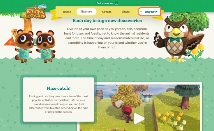 web oficial animal crossing new horizons